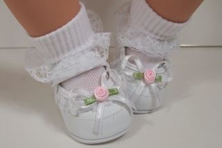 White Fancy Lace Ribbon Baby Doll Shoes for Lee Middleton Toddler