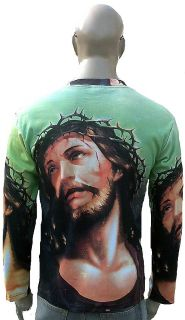 Jesus Christ Thorns Crown Holy Tattoo Rock Super Star Long Sleeved T