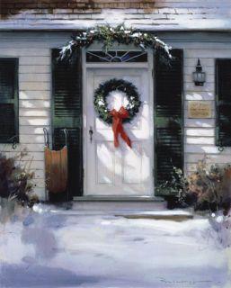 Paul Landry Christmas Door Holiday Wreath Ed Print