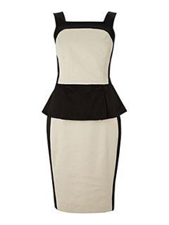 Untold Colour block peplum detail dress Black