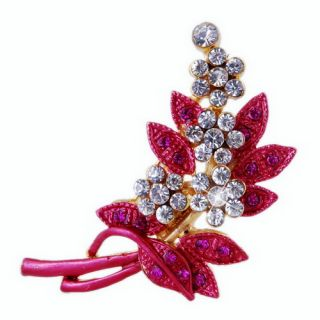 Gentle Flower Ladies Prom Plant Rhinestone Brooch Pin 29x46mm Alloy