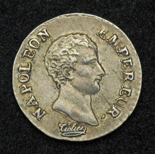 1805 U Italy France Napoleon I Silver 1 4 Franc Quart Coin Torino Mint