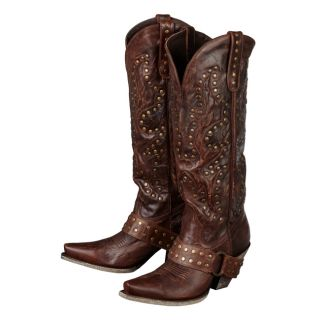 Lane Western Boots Womens Cowboy Stud Rocker Brown Vintage 10 B