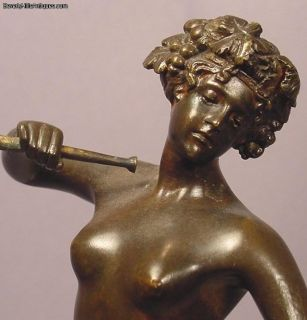 Antique Nude Bronze Lady with Cup Horn Signed Keck