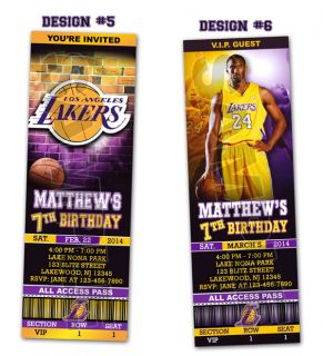 La Lakers Birthday Party Ticket Invitations Kobe Bryant Printable
