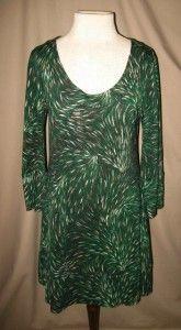Diane Von Furstenberg Vintage Laetitia Silk Feather Pattern Dress Sz