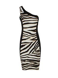 Jane Norman Zebra print one shoulder dress Black