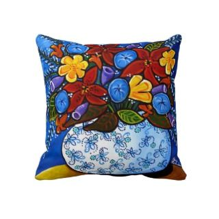 Colorful Flowers Vase Folk Art Pillow