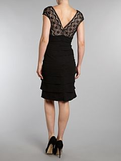 Eliza J Tiered jersey dress with embroidered bodice Black