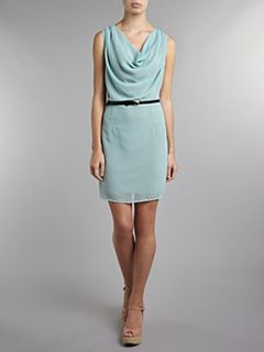 Atelier 61 Belted cowl neck dress Green