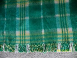 Vintage Throw Lap Robe Stadium Blanket Wool Plaid Reversible