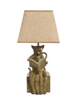 Her Kitten Reading w Magnify Glass Table Lamp End Side Light