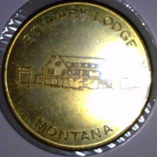 St Mary Lake Glacier Park Montana Good Luck Bronze Token Medal