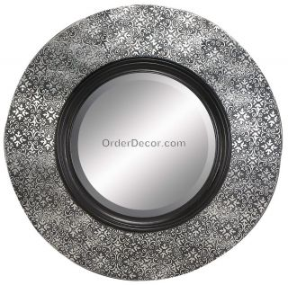 Large 35 Round Wood Wall Hanging Mirror Black Silver