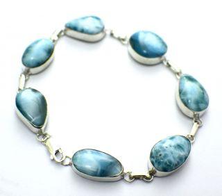 Ocean Blue Larimar Atlantis Sterling Silver Bracelet 8 8