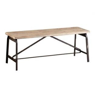 Laramie Modern Rustic Iron Solid Wood Industrial Bench