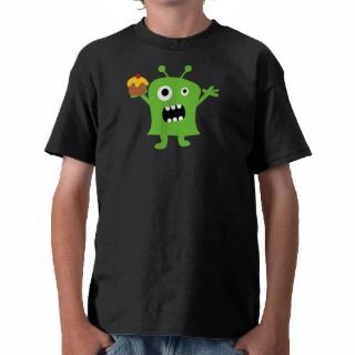 Fun scary monster holding a cupcake boys t shirt