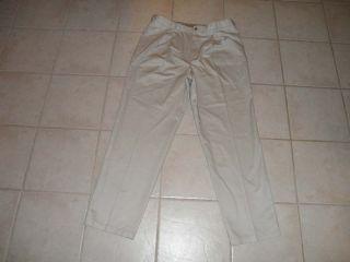 Lanesboro Mens Khaki Pants 38 x 34 Beige Pleated Front Chino Wrinkle