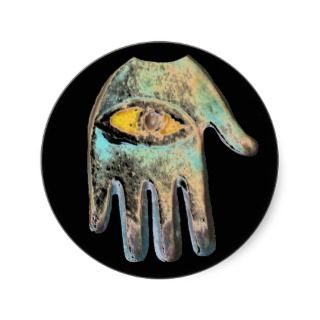 Hand of Fatima, evil eye protection Round Stickers