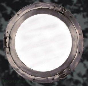 Large Nautical Bronze SHIP Cabin Porthole Round Mirror