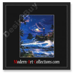 16x16 Christian Riese Lassen Moon Lit Framed Seascape Dolphins
