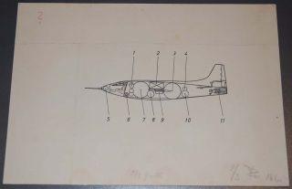 Ultra RARE Original TH Lässig Space Drawing 1950s Bell x1 Rocket