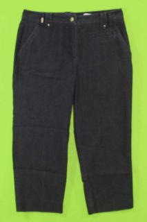 Larry Levine Sz 6 Navy Blue Capris Womens Pants Slacks Stretch 5H80