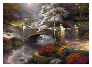Original Landscape Bridge of Hope Art Oil Painting Print on Canvas 16