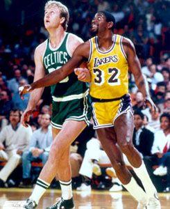Larry Bird vs Magic Johnson Boston Celtics vs La Lakers 1980s Poster