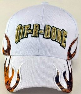 Git R DONE Larry The Cable Guy Side Flame Cap Hat White