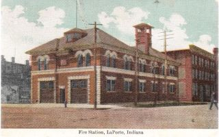 1910 Laporte in Fire Station Mail Pouch Postcard