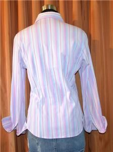 Robert Graham Long Sleeve Purple Pink Blue Button Down Stripe Shirt