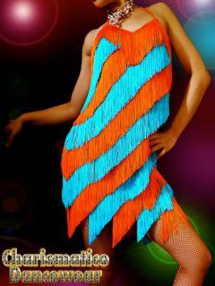 Blue Orange Flapper Diva Rock Salsa Latin Fringe Dance Dress