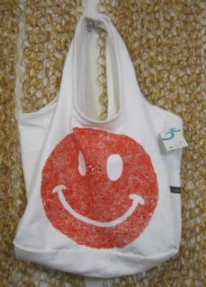 Lauren Moshi Adorable Canvas Red Patterned Smiley Happy Face Tote Bag