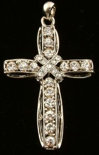Large Religious Cross Pendant with Clear Rhinestones