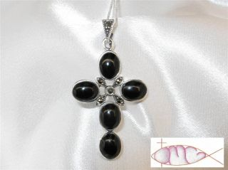 Large Sterling Silver Black Onyx Marcasite Cross Pendant with or