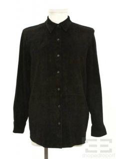 Lauren Ralph Lauren Womens Black Suede Button Up Shirt Size L New