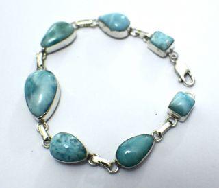 Ocean Blue Larimar Atlantis Sterling Silver Bracelet 8