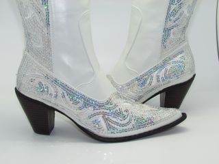 Womens White Sequined Cowboy Boots Crystalized Evening Wedding Shoes