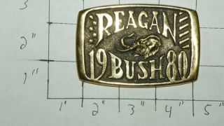 RARE Solid Brass Belt Buckle Reagan Bush 1980 Missing Buckle