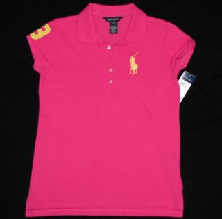 NWT RALPH LAUREN Polo Shirt Girls XL / Womens S Small Pink Pique BIG