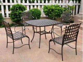 Santa FE 4 Iron Chairs Square Table Patio Furniture