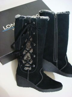 London Fog Black Faux Fur Lace Up Lauren Waterproof Suede Leather