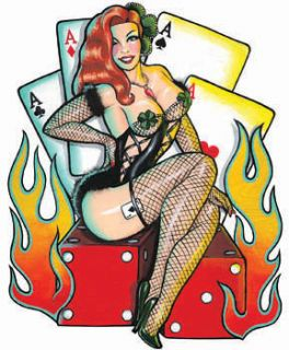Redhead Dice Lady Luck Hotrod Vegas Sticker Vinyl Decal