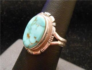 Larry Yazzie Navajo Sterling Silver Turquoise Ring Immaculate