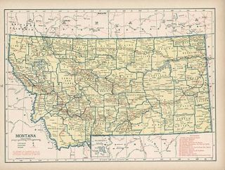Montana Authentic WW2 Vintage Map Railroads Genuine 67 Years Old Made