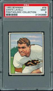 1950 Bowman 78 Dante Lavelli RC HOFer Cleveland Browns PSA 9 Mint Pop