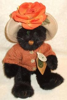 1998 Boyds Bears Plush Black Green Eye Cat Mrs Partridge in Sweater