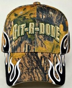 Git R DONE Larry The Cable Guy Side Flame Cap Hat Camo