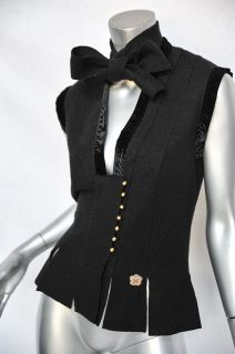 Yves Saint Laurent Black Satin Trim Sleeveless Blouse Vest Bow Tie